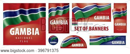 Vector Set Of Banners With The National Flag Of The Gambia