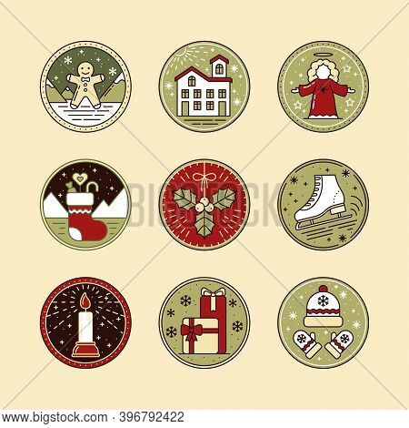 Christmas Line Art Icon Set With Ginger, Snow House, Angel, Sock, Mistletoe, Skate, Gifts, Hat, Mitt