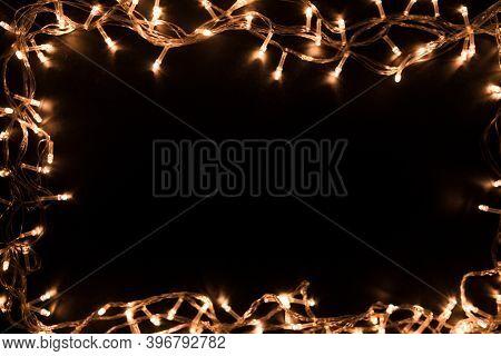Blurry Christmas Lights. Christmas Lights Border. Christmas Background With Lights And Free Text Spa
