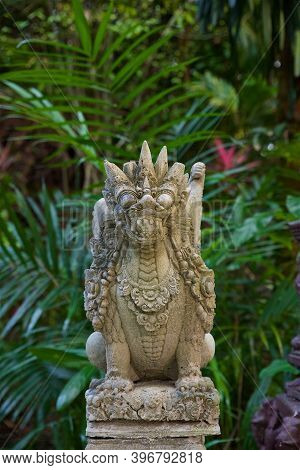 Traditional Temple Architecture On Koh Samui In Thailand, Southeast Asian Culture, Dragon Statues
