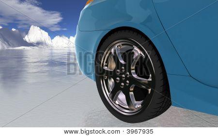 Blue Sport Car On Thin Ice , Rear Wheel