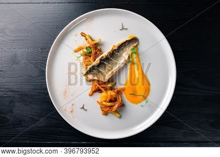 Sea Bass With Vegetables Stir Fry, Seared Sea Bass Served With Stir Fried Baby Vegetables, Healthy O