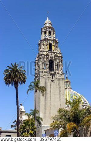 San Diego, America - May 26, 2014:beautiful Architecture Of Balboa Park. Tourists Destination. San D