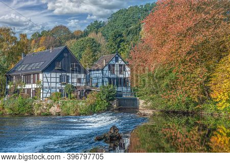 Idyllic Landscape At Wupper River In Bergisches Land,solingen,germany
