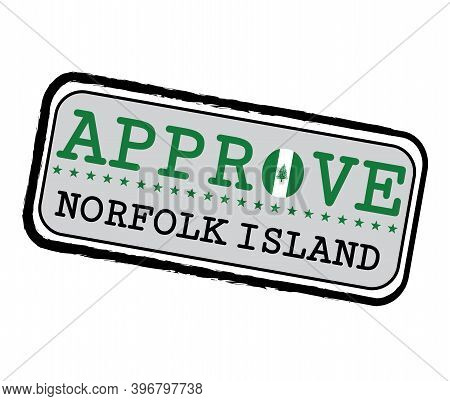 Vector Stamp For Approve Logo With Norfolk Flag In The Shape Of O And Text Norfolk Island. Grunge Ru