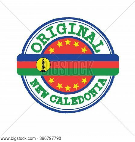 Vector Stamp For Original Logo With Text New Caledonia And Tying In The Middle With Nation Flag. Gru