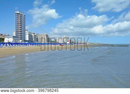 Beach And Village Of Lido Di Jesolo At Adriatic Sea,veneto,italy