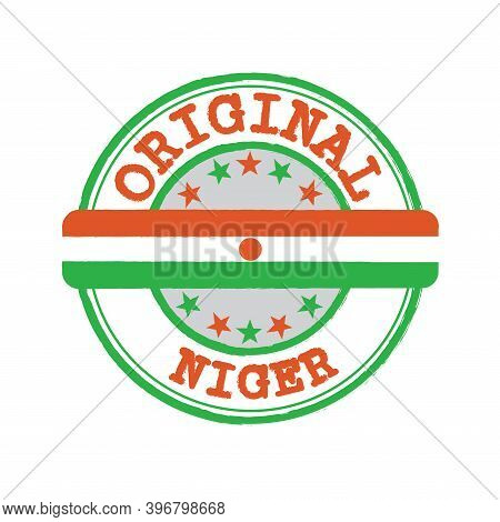 Vector Stamp For Original Logo With Text Niger And Tying In The Middle With Nation Flag. Grunge Rubb