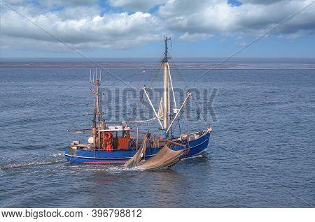 Shrimp Boat At North Sea,wattenmeer National Park,germany
