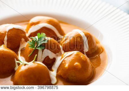 Malai Kofta Curry, Indian Cuisine Dish, Selective Focus, Close-up