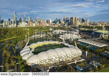 Melbourne, Australia - Nov 15, 2020: Aerial Photo Of Melbourne Sporting Venues And Cbd At Sunrise