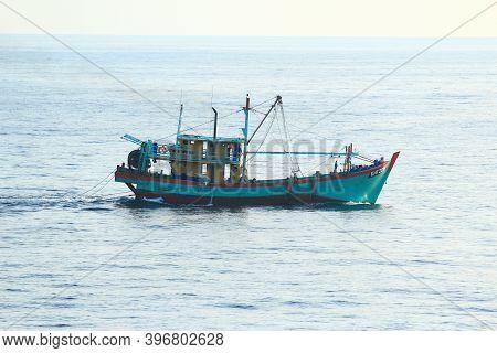 Andaman Sea / Myanmar - 03.20.2019: Myanmarese / Burmese Fishing Boat Trawling In The Andaman Sea