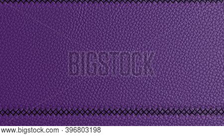 Bovine Coarse-grained Leather Background With Decorative Stitch On Top Of The Stitch. Bright Blue Le