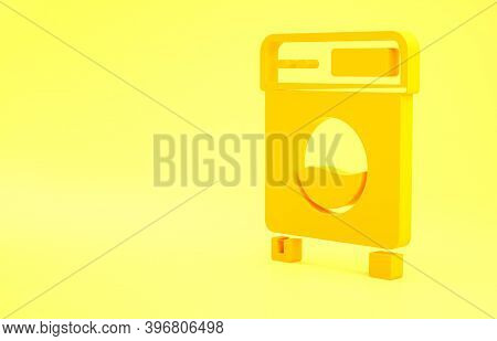 Yellow Washer Icon Isolated On Yellow Background. Washing Machine Icon. Clothes Washer - Laundry Mac
