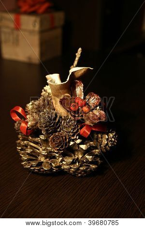 Table decoration of pinecone