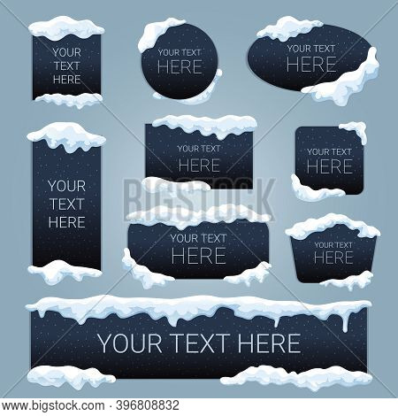 Snow Ice Cap Your Text Here Advertising Black Banners Set Rectangular Square Oval Round Shapes Vecto