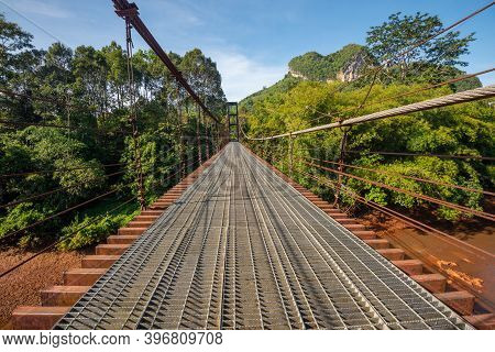 The Suspension Bridge To See The Heart Shape Of The Mountain, Surat Thani, Thailand