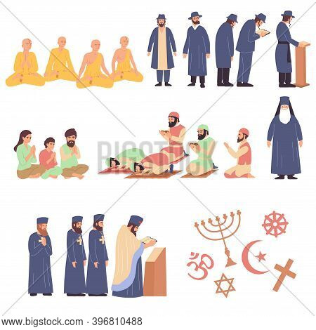 World Religions Flat Set Of Representatives Of Different Faiths So As Orthodoxy Buddhism  Judaism Hi