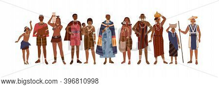 Group Of Happy Aboriginal Or Indigenous People Of Africa Dressed In Ethnic Clothes Isolated On White