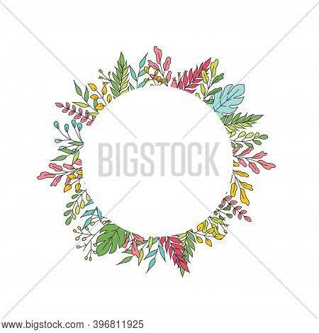 Wedding Invite, Round Ellipse Invitation Card Vector Floral Greenery Design: , Branch Green Leaves,