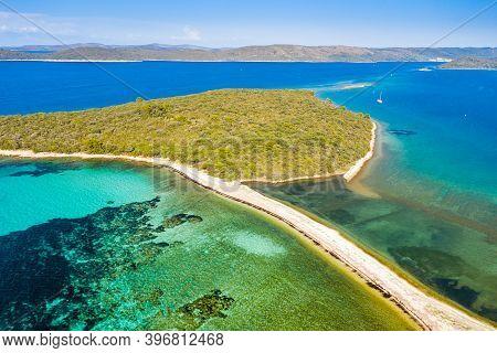 Adriatic Seascape And Island Of Dugi Otok In Croatia, Aerial View From Drone