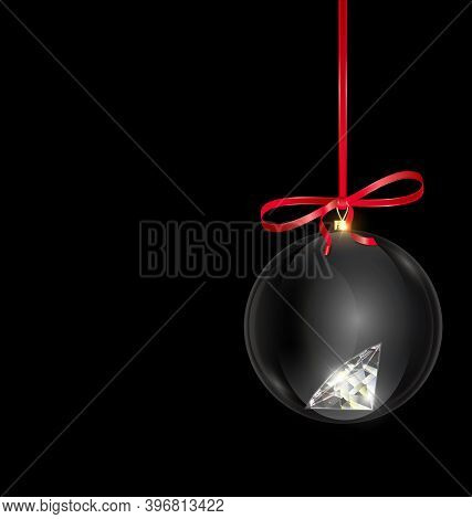 Black Red Christmas Ball With Crystal And Red Tape