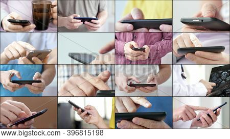 Close-up Of Hands Holding Smartphone And Typing Text On Touch Screen And Using Applications. A Perso