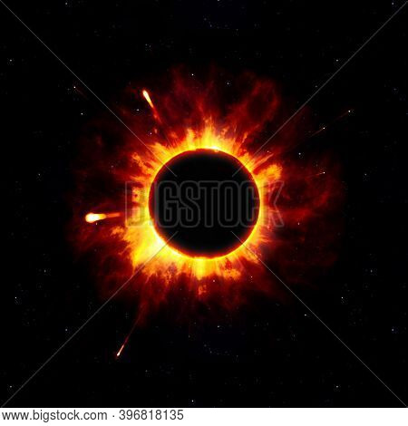 An illustration of a strange space star eclipse explosion