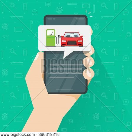 Gas Petrol Refilling Car Automobile On Fuel Station On Mobile Phone App Screen Vector Flat Cartoon I