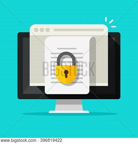 Locked Access To Document File Online Vector Flat Icon, Confidential Secure Special Permission On Co
