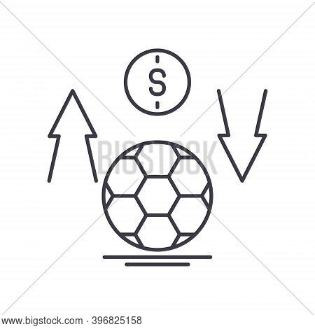 Football Bet Icon, Linear Isolated Illustration, Thin Line Vector, Web Design Sign, Outline Concept