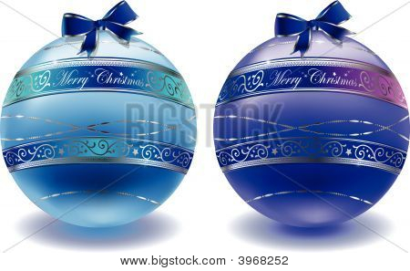 Vector - Blue Christmas Balls
