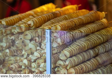 Tornado Potatoes, Also Called Twist Potatoes Or Tornado Fries.spiral Potato Chips On A Stick. Potato
