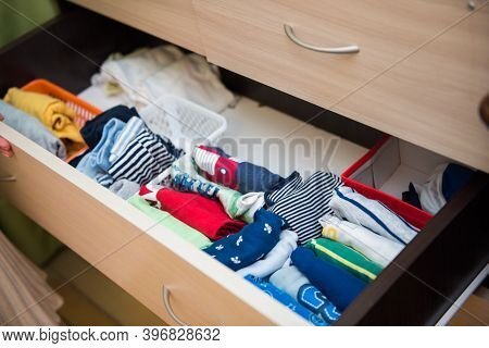 Home Storage System For Colorful Children Clothes. Organizer For Underwear. Organizational Space - M