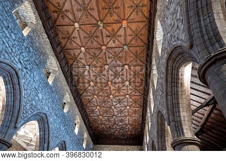 Aberdeen, Scotland - August 11, 2019: The Flat Decorative Ceiling Of Cathedral Church Of St. Machar
