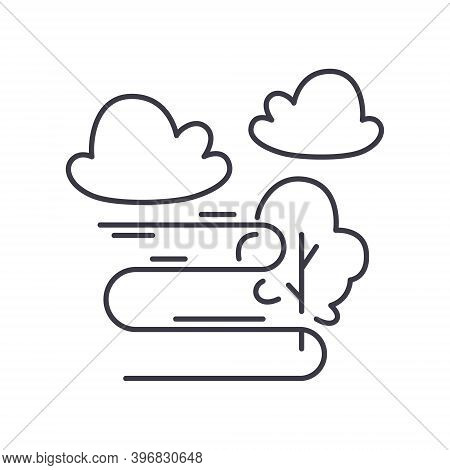 Foggy Icon, Linear Isolated Illustration, Thin Line Vector, Web Design Sign, Outline Concept Symbol