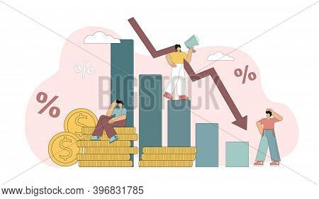 Financial Crisis. The Collapse Of The Economy. Bankruptcy, Economic Downturn. Vector Illustration On