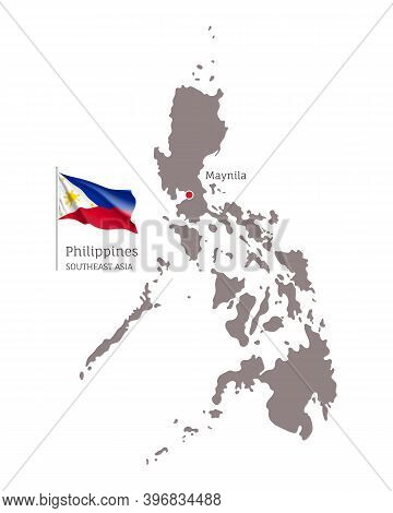 Silhouette Of Philippines Country Map. Highly Detailed Gray Map With Maynila Capital, Southeast Asia