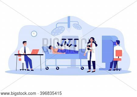 Surgeons Watching Robot Doing Surgical Operation Flat Vector Illustration. Cartoon Patient Lying On