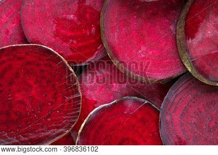 Round textured slices of beetroot