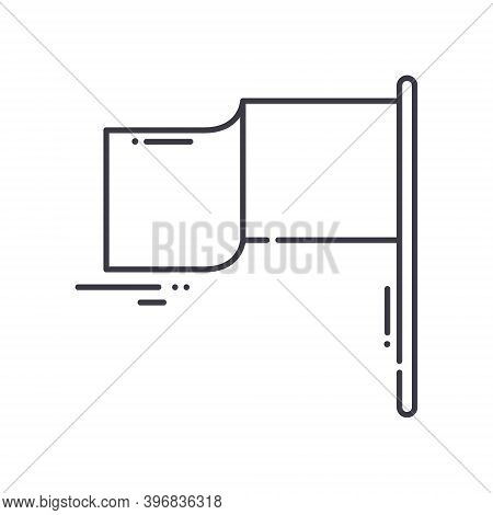 Flagpole Icon, Linear Isolated Illustration, Thin Line Vector, Web Design Sign, Outline Concept Symb