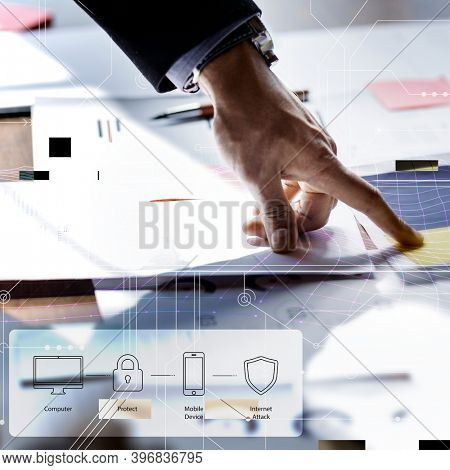 Man pointing at digital security plan background