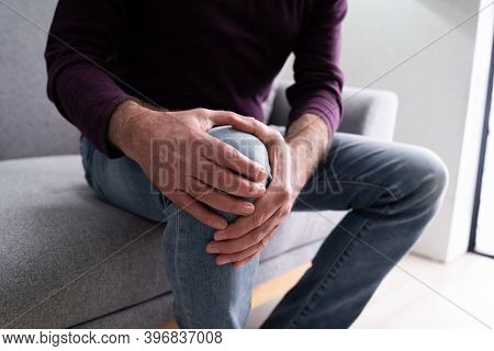 Knee Joint Pain After Injury. Elder With Arthritis