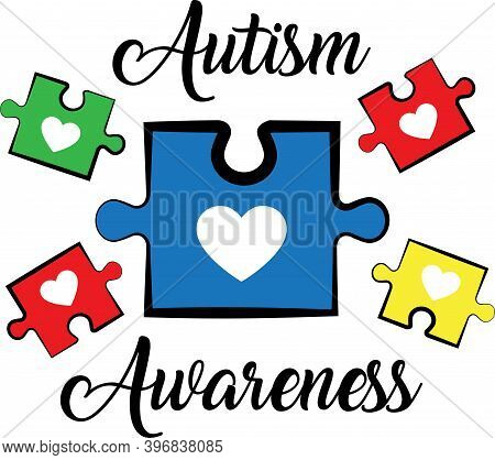 Autism Awareness On The White Background. Vector Illustration