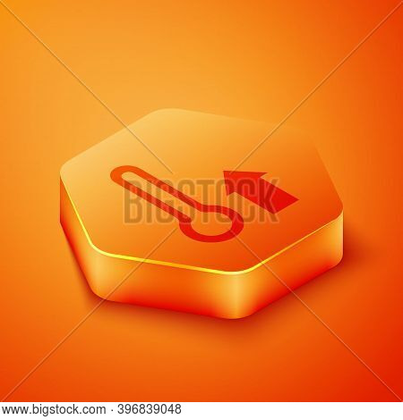 Isometric Meteorology Thermometer Measuring Icon Isolated On Orange Background. Thermometer Equipmen