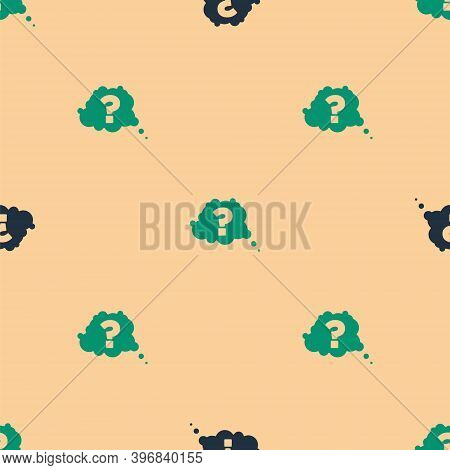 Green And Black Question Mark Icon Isolated Seamless Pattern On Beige Background. Faq Sign. Copy Fil