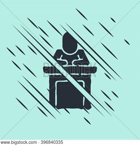 Black Speaker Icon Isolated On Green Background. Orator Speaking From Tribune. Public Speech. Person