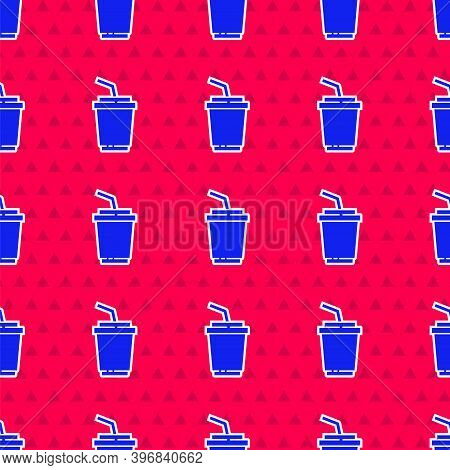 Blue Paper Glass With Drinking Straw And Water Icon Isolated Seamless Pattern On Red Background. Sod
