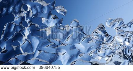 Ice lace. Abstract ice shape against the blue sky. Winter abstract background