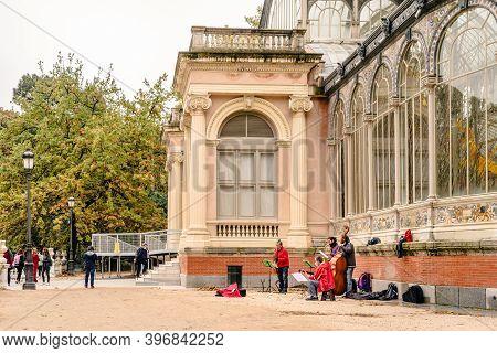 Madrid, Spain - October 24, 2020: Classical Street Music Quartet Playing At Palacio De Cristal Or Gl